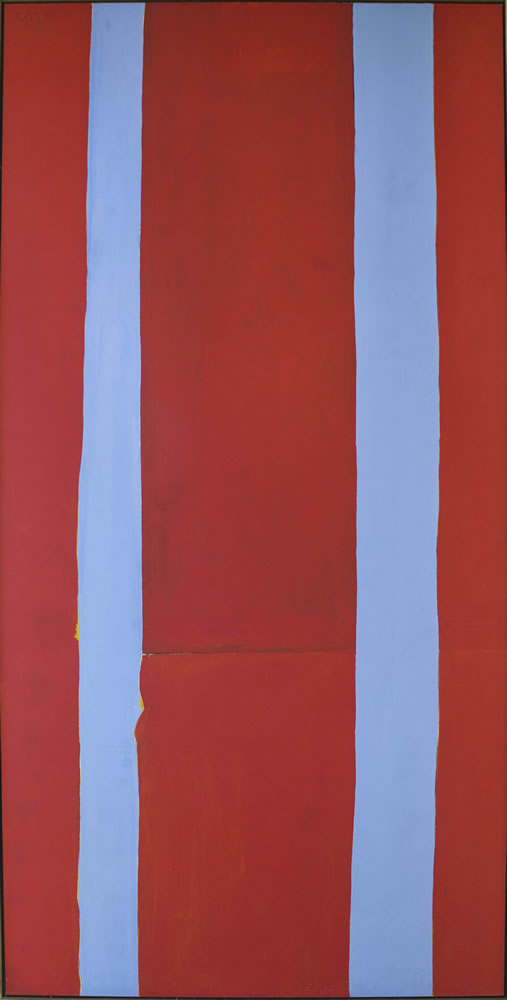 Robert Motherwell (American, 1915-1991). Open No. 174: In Red with Blue Stripes