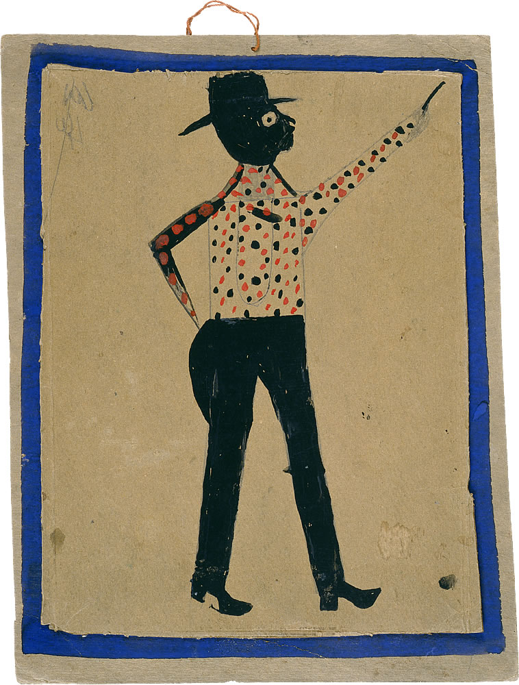 Bill Traylor (American, 1854-1949). Man in Hat and Spotted Shirt Pointing