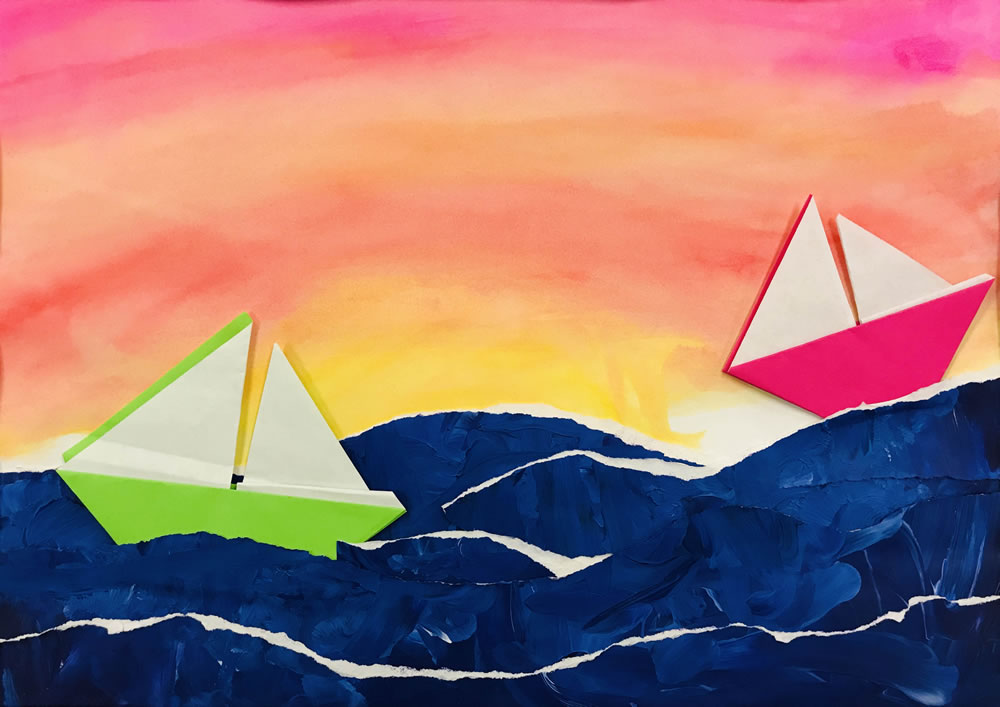 Emilie Sickels, Grade 4. Sailing at Sunset. Mixed Media. Osceola Elementary. Art teacher: Shannon Green.