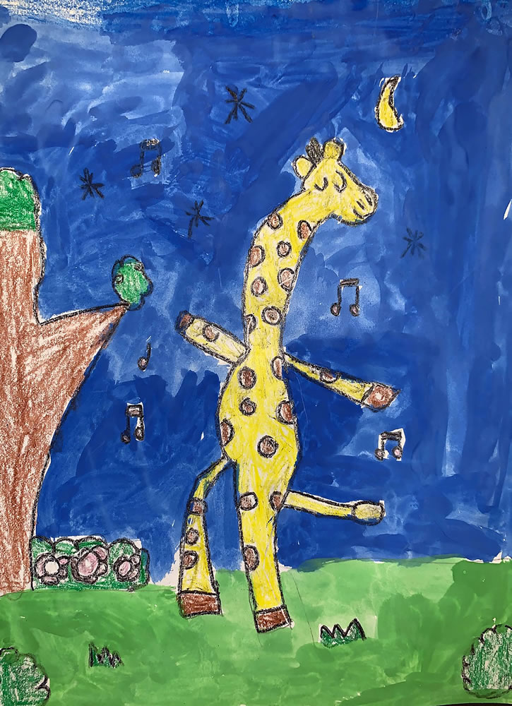 Valerie B., Kindergarten. Giraffes Can Dance. Crayon and Tempera. Corkscrew Elementary. Art teacher: Addie Agler.
