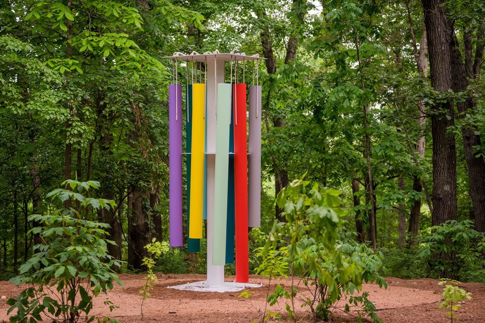 Sam Falls (born 1984). Untitled (Wind chimes), 2014. Powder-coated aluminum and steel. 143 ¼ × 48 × 48 inches. Courtesy of the artist and Galerie Eva Presenhuber, Zurich / New York. Photo: Ironside Photography, Courtesy of Crystal Bridges Museum of American Art.