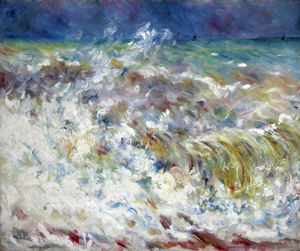 Pierre-Auguste Renoir (French, 1841-1919) The Wave, 1882 Oil on canvas 21 ¼ x 25 5/8 inches Collection of the Dixon Gallery and Gardens; Museum purchase from Cornelia Ritchie and Ritchie Trust No. 4 provided through a gift from the Robinson Family Fund, 1996.2.12