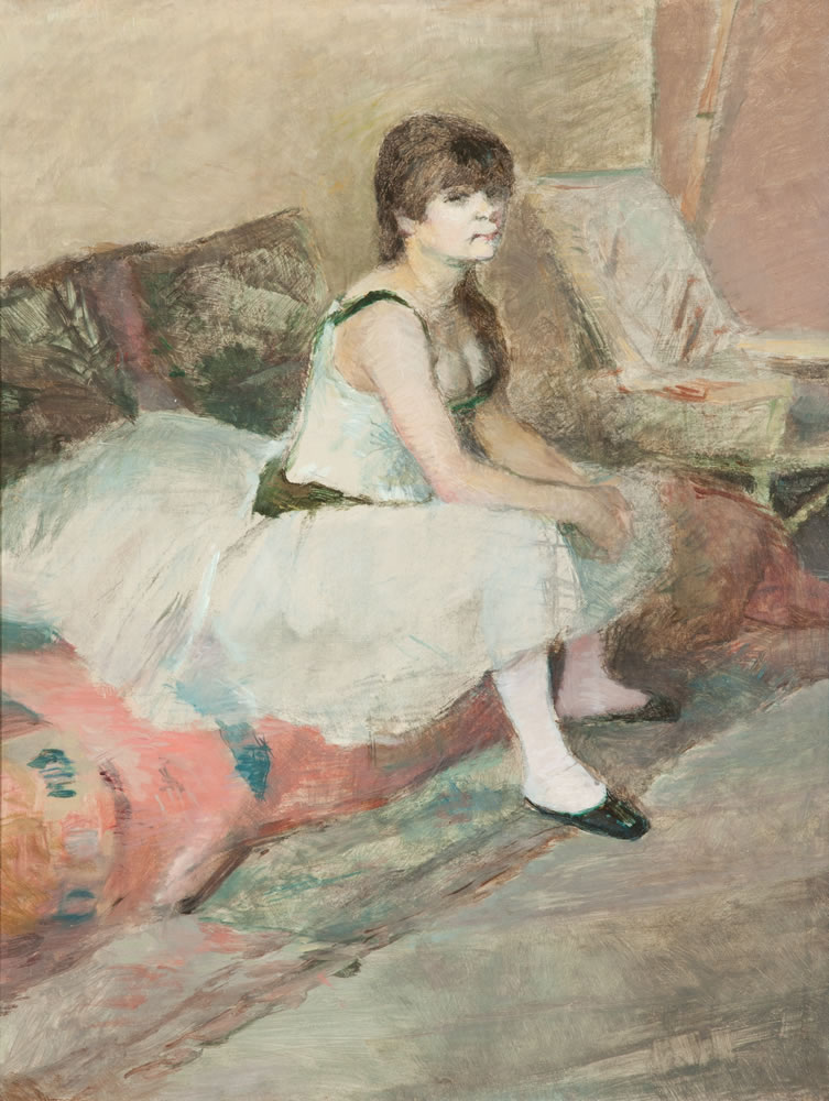 Henri de Toulouse-Lautrec (French, 1864-1901) Dancer Seated on a Pink Divan, 1884 Oil on canvas 18 ¾ x 14 ¼ inches Collection of the Dixon Gallery and Gardens; Gift of Sara Lee Corporation, 2000.3