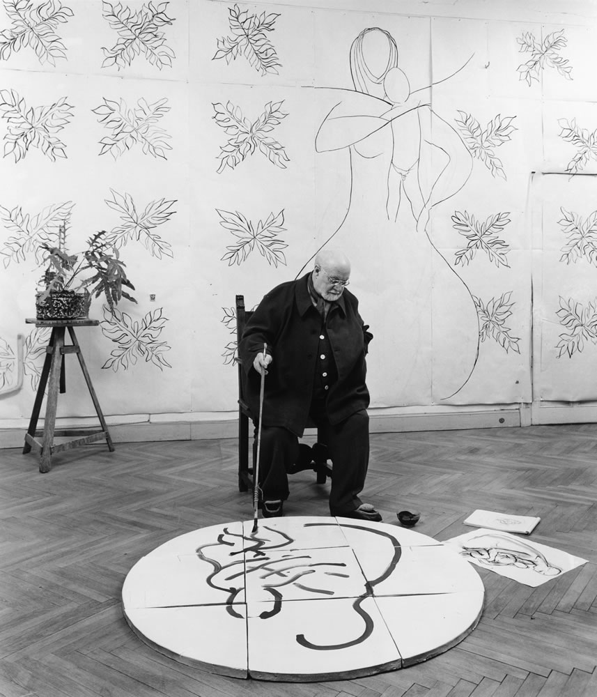 Dmitiri Kessel (Russian, 1902-1995), Henri Matisse in His Studio, ca. 1950. Gelatin silver print, 25.5 x 21 in. Artis—Naples,  The Baker Museum. 1999.3.008. Bequest of Herbert and Ruth Abramson. © The LIFE Picture Collection via Getty Images.