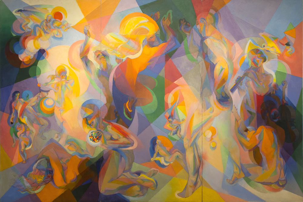 Stanton MacDonald-Wright (American, 1890-1973) L'Age d'Or: Ses Soleilles (The Golden Age: Its Suns), 1966-1967 (reworked 1967-70) Oil on three wood panels 8 x 12 feet Artis—Naples, The Baker Museum. 2016.4.1. Gift of Charlie and Elise Brown.
