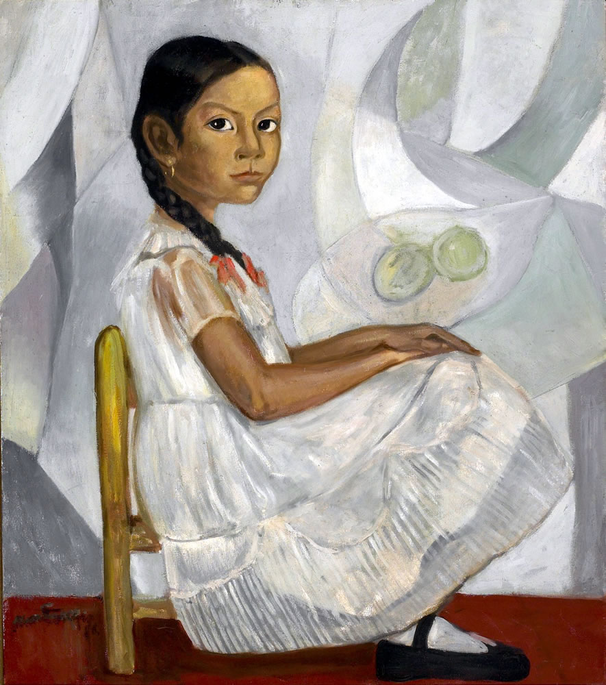 Roberto Montenegro (Mexican, 1885-1968) Niña sentada (Seated Girl), 1958 Oil on canvas 30 x 26 inches Artis—Naples, The Baker Museum. 2002.2.039. Gift of Harry Pollak.