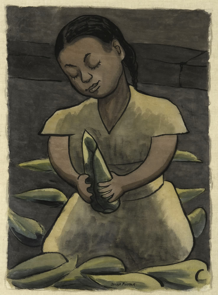 Diego Rivera (Mexican, 1886-1957). <em>Niña con elotes (Young Girl with Ears of Corn)</em>, 1938. Watercolor on Japanese rice paper. 15 x 11 inches Artis—Naples, The Baker Museum. 2002.2.057. Gift of Harry Pollak.
