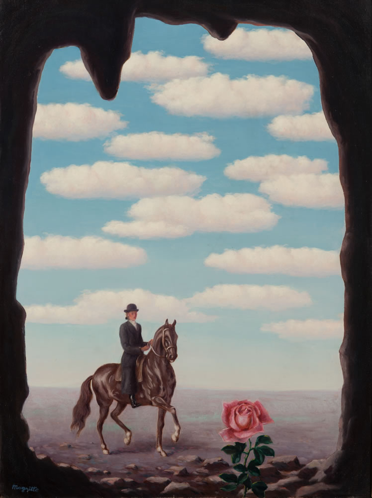 René Magritte. La Tour d'Ivoire (The Ivory Tower), 1945. Oil on canvas. 31 1/2 x 23 3/4 inches. © 2019 C. Herscovici / Artists Rights Society (ARS), New York.