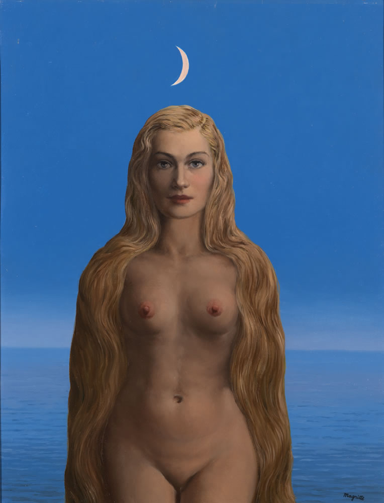 René Magritte. Les Grandes Vacances (Summer Holidays), 1956. Oil on canvas. 25 1/2 x 19 3/4 inches. © 2019 C. Herscovici / Artists Rights Society (ARS), New York.