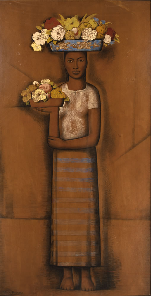 Alfredo Ramos Martínez (Mexican,  1871-1946). Vendedora de flores (Flower Seller),  ca. 1940. Gouache and charcoal on buff paper laid  down on gypsum board, 72 x 46 inches. Artis—Naples,  The Baker Museum. 2002.2.053. Gift of Harry Pollak.