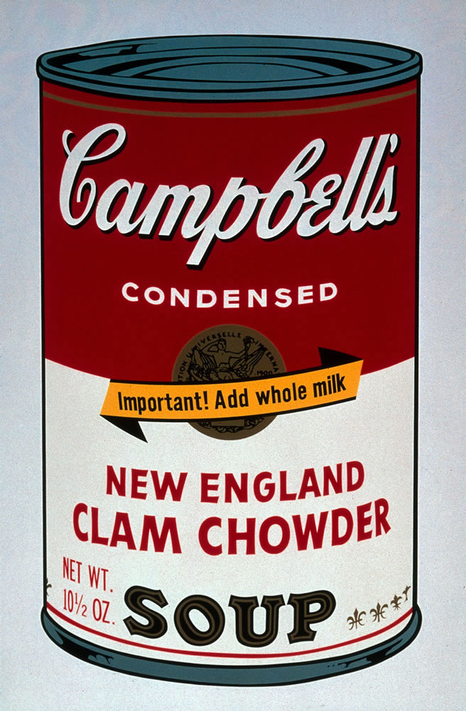 Andy Warhol (1928 – 1987). Campbell's Soup II (New England Clam Chowder), 1969. Portfolio of ten screenprints on paper, 13/250. Bank of America Collection.