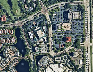 Aerial image of the campus and surrounding parking around Artis Naples
