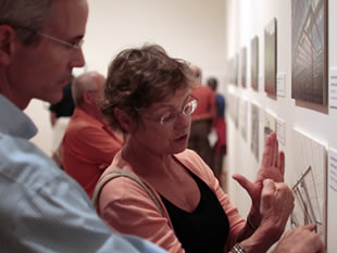 Image of patrons viewing artwork in the museum